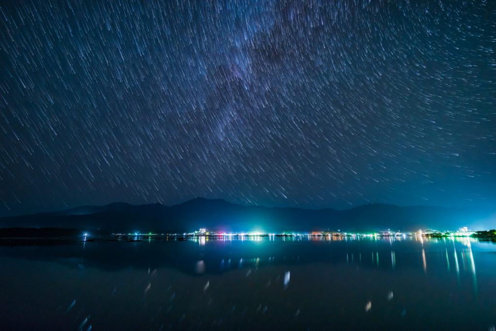 加茂湖と天の川